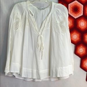 IRO cream peasant blouse